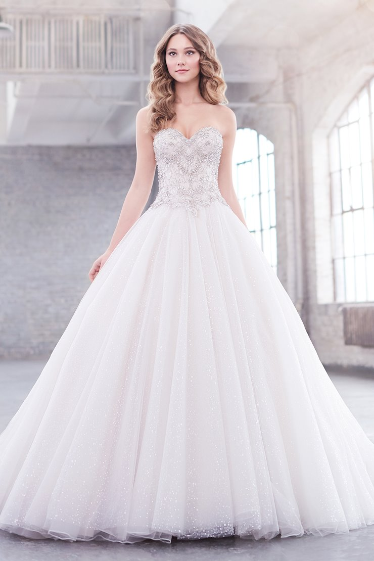 Jewel Regal Strapless Sequin Ball Gown with Illusion Back