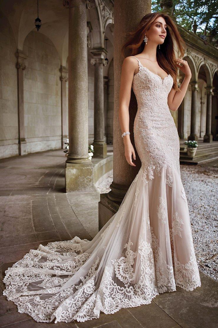 Kula Lace Tulle Gown with Hand-Beaded Spaghetti Straps
