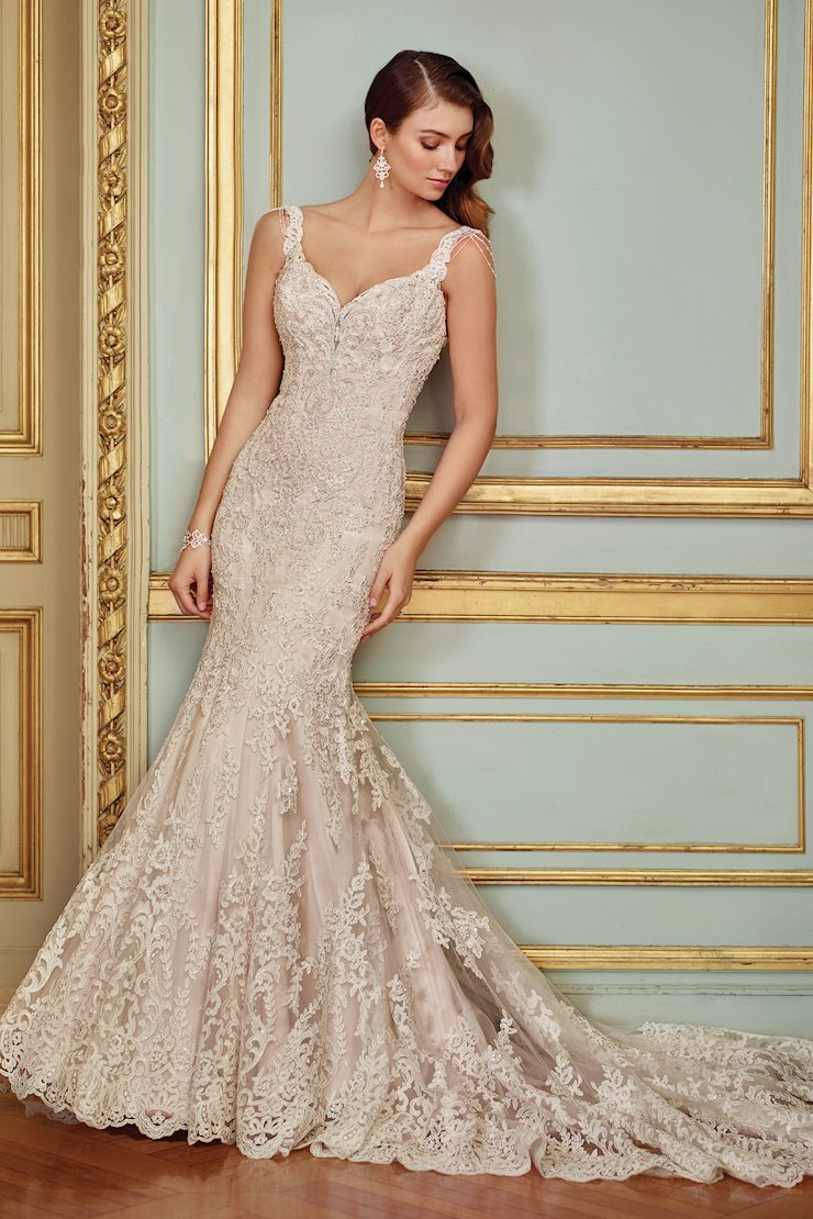 Ophira Delicate Sleeveless Trumpet Gown with Illusion Back