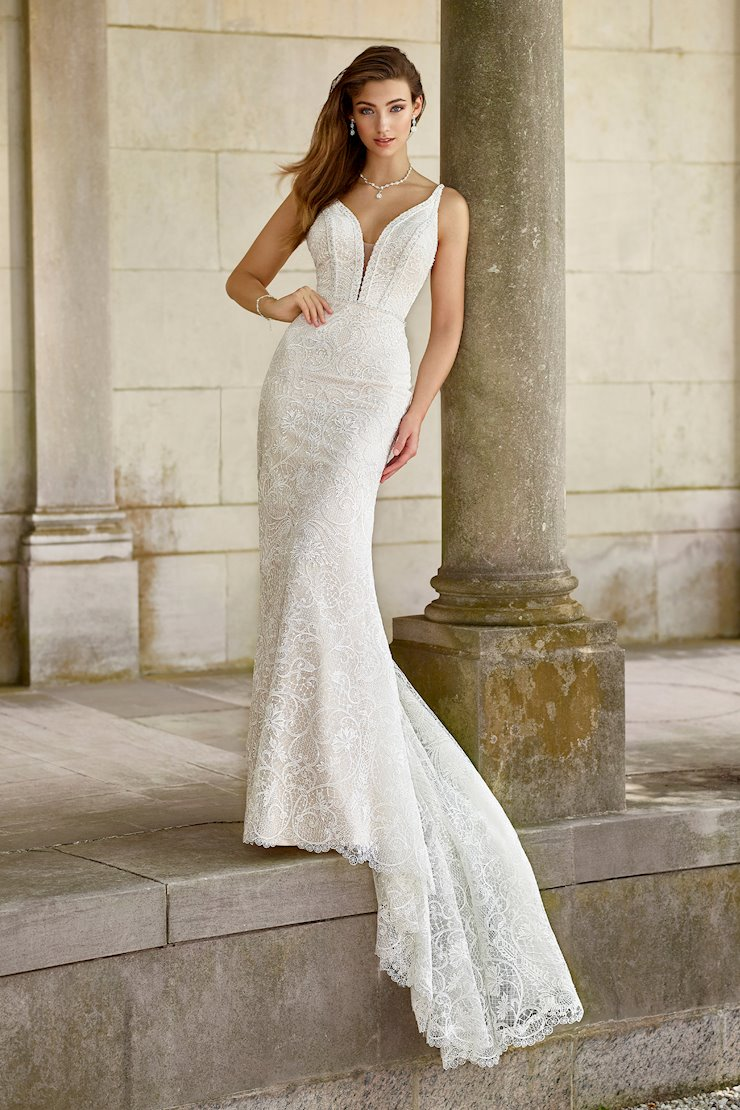 Clarion Unforgettable Lace and Sequin Gown with V-Neckline