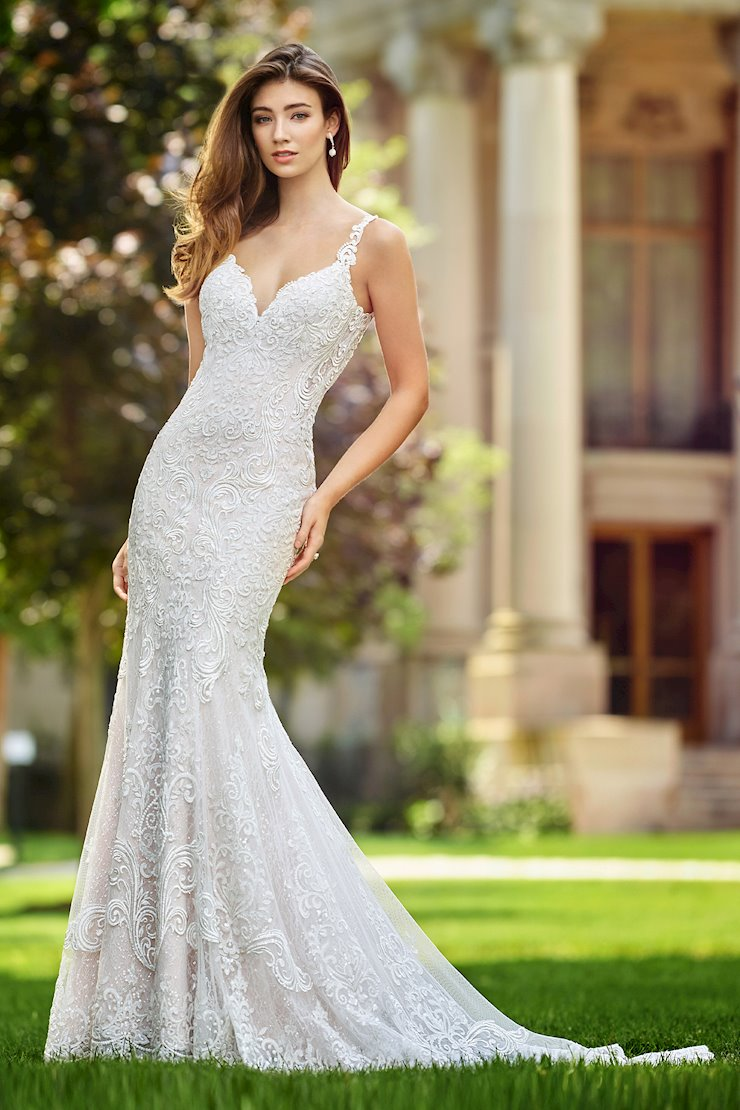 Talea Alluring Sleeveless Sequin Lace Trumpet Gown