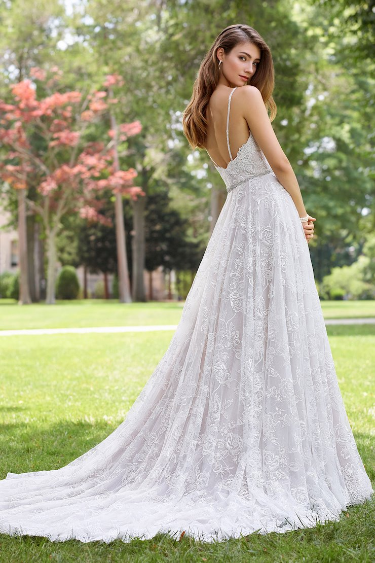 Toccata Embroidered Lace and Satin Sleeveless A-Line Gown
