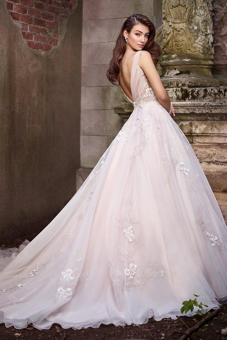 Brianna Breezy Sleeveless Gown with Metallic Schiffli Lace Appliques