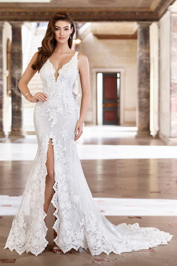 Rachel Lace Fit and Flare Gown with Daring Center Front Slit