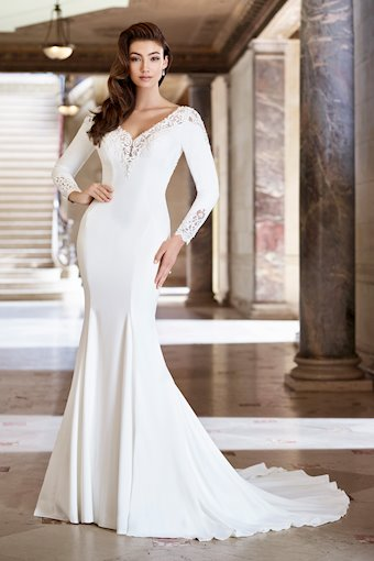 Rita Crepe Fit and Flare with Long Sleeves and V-Neckline