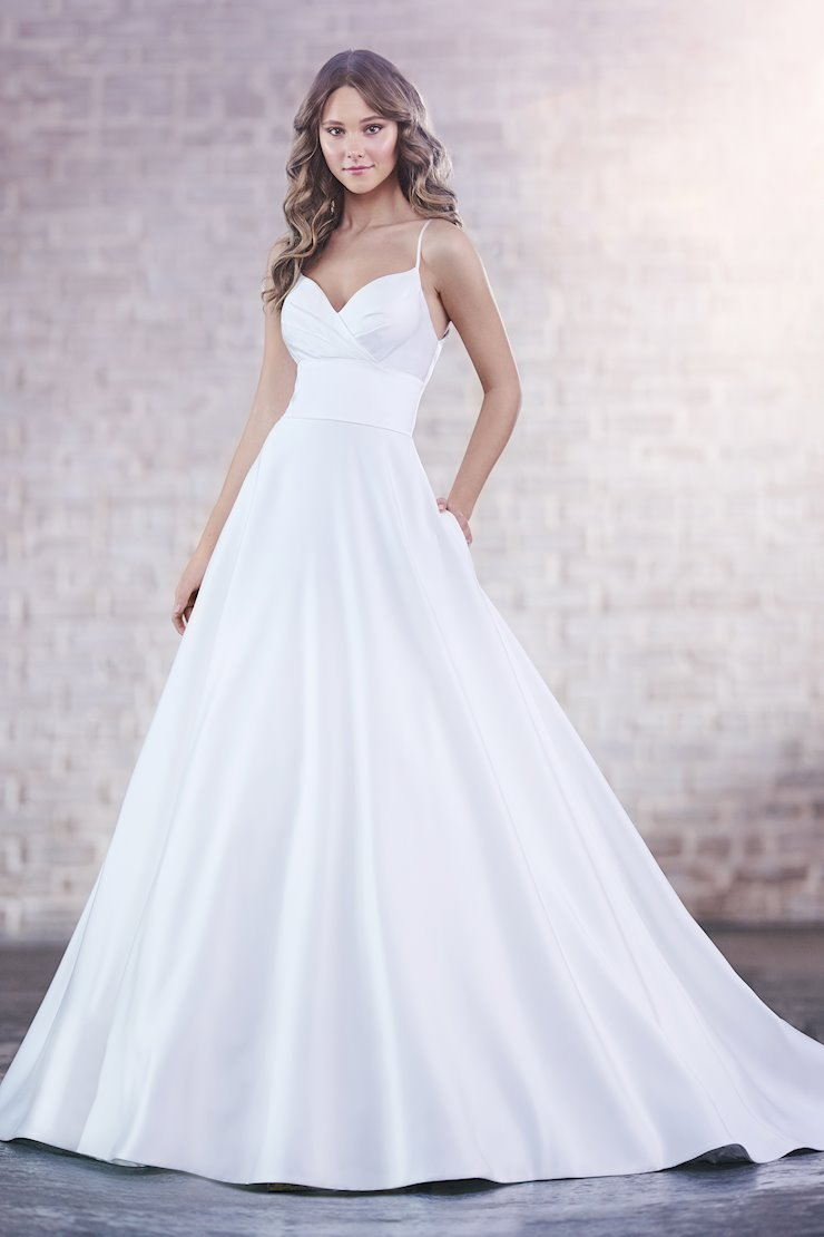 Fiona Grace Minimalist Sleeveless Satin Ball Gown with Spaghetti Straps