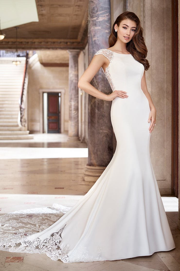 Pauline Simple Crepe Fit and Flare Gown with Illusion Back