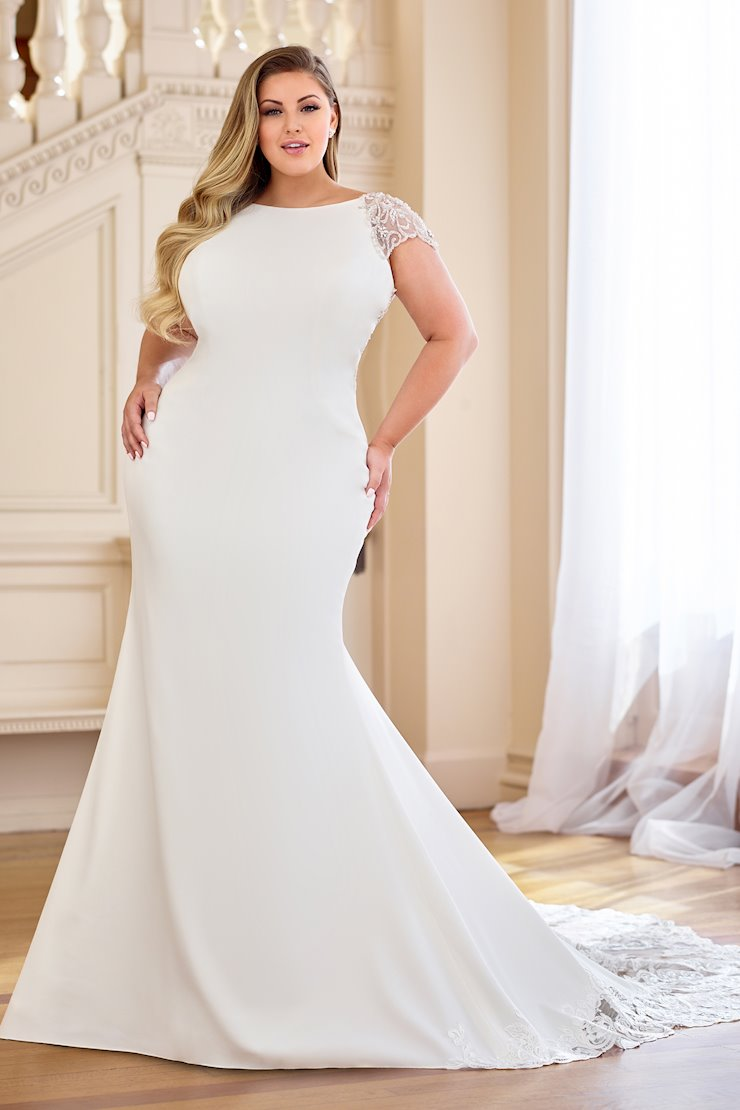 Simple Crepe Fit and Flare Gown with Illusion Back, Plus Size