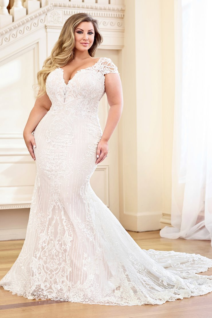 Sensual Lace and Sequin Fit and Flare Gown with Illusion Back, Plus Size