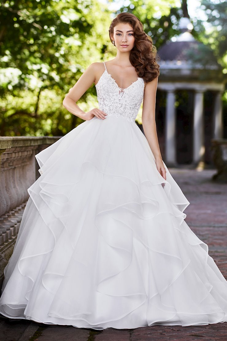 Gwendolyn Fairytale Tulle and Organza Gown with Beaded Spaghetti Straps