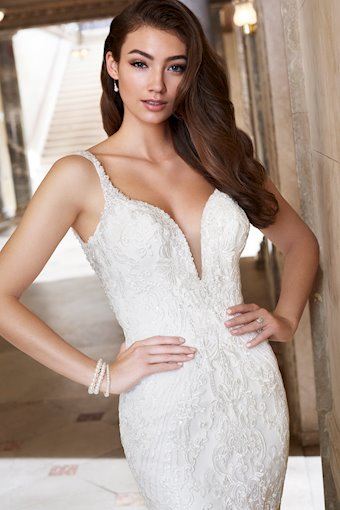 Sylvia Exquisite Trumpet Gown with V-Neckline and Beaded Straps