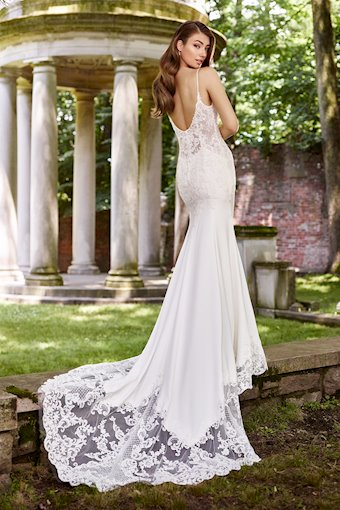 Lenore Delightful Lace Gown with Beaded Straps and V-Neckline