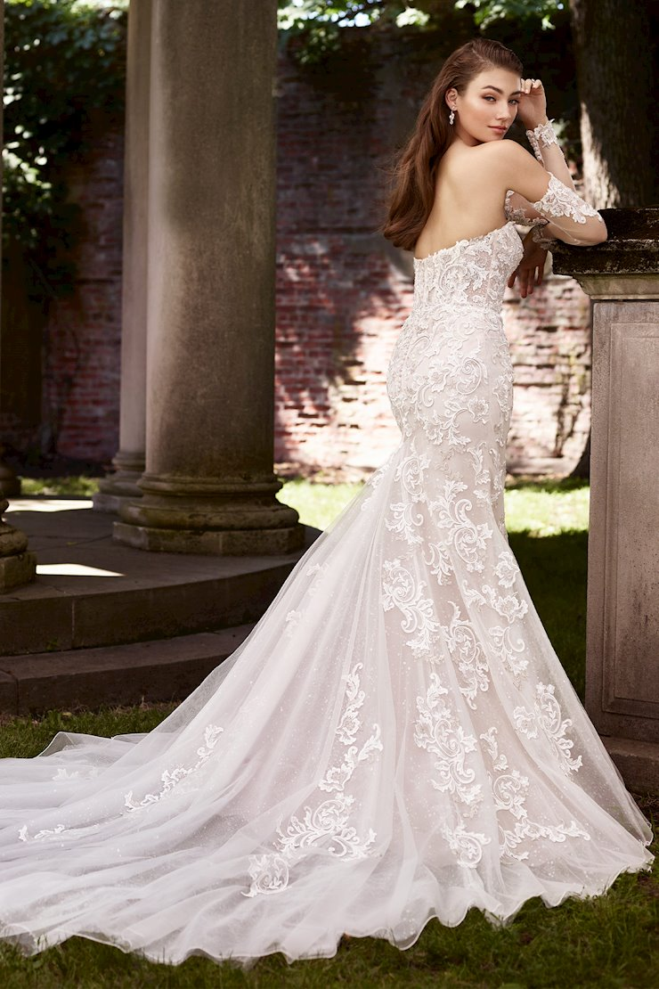 Annie Attention-Grabbing Semi-Sheer Lace Trumpet Gown with Lace Gauntlet Sleeves