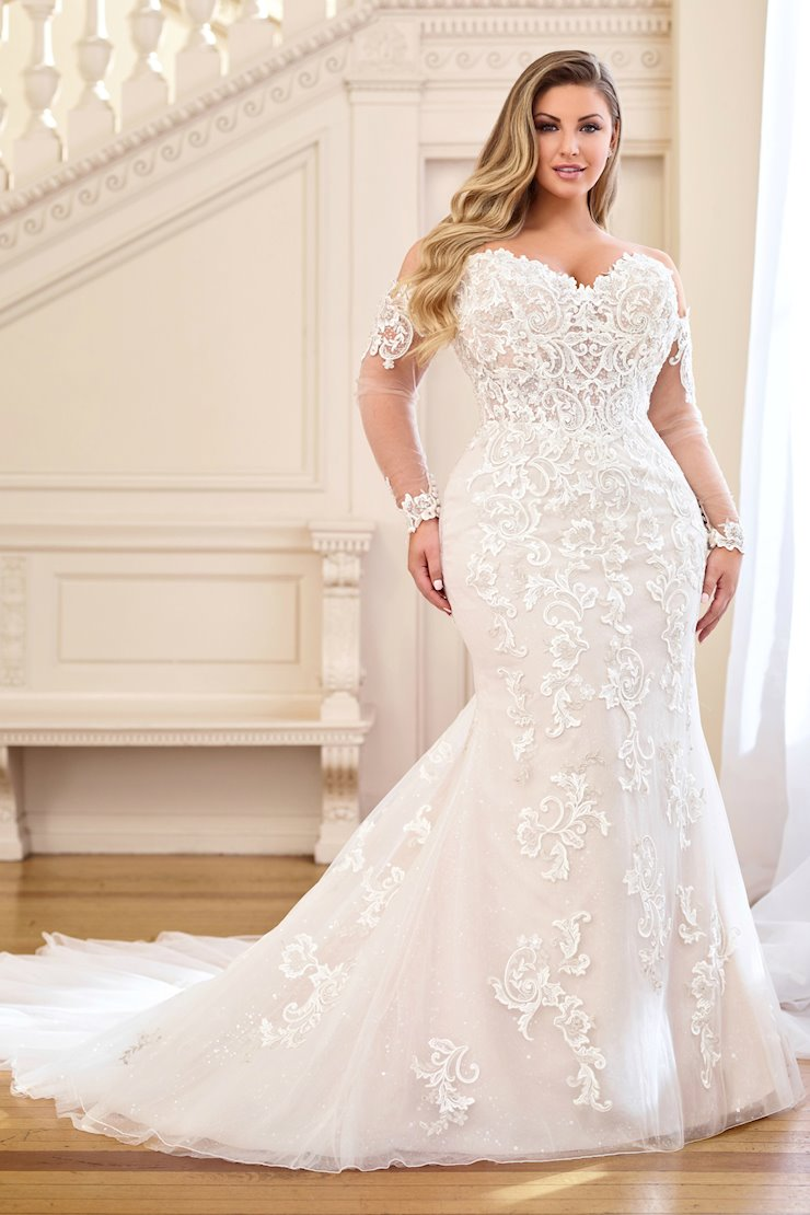 Annie Semi-Sheer Lace Trumpet Gown with Lace Gauntlet Sleeves, Plus Size