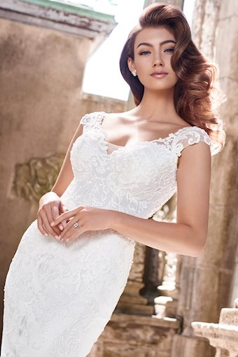 Whitney Breathtaking Lace and Tulle Fit and Flare Gown with Cap Sleeves