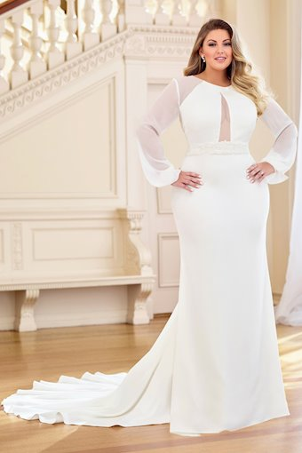 Serena Classy Crepe Fit and Flare Gown with Long Sleeves, Plus Size