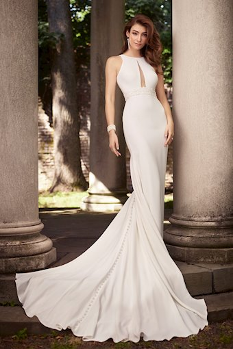 Serena Joy Daring Sleeveless Fit and Flare Gown with Halter Neckline