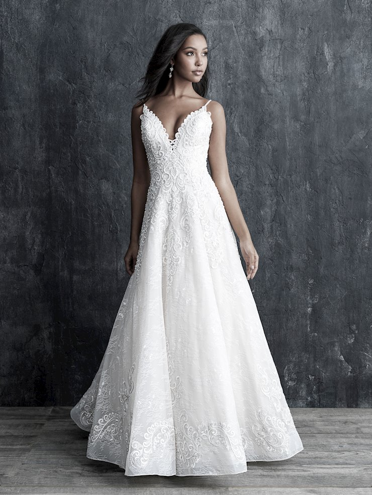 Allure Couture Style #C542 Lace, Embroidery and Horsehair Trim A-line Ballgown Wedding Dress Image