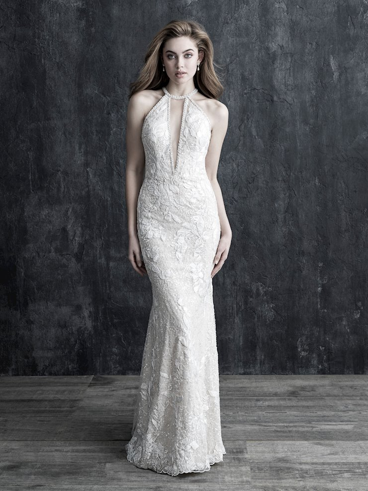 Allure Couture Style #C543 Chic Plunging V-Neck Halter Wedding Dress with Rhinestone Trim  Image