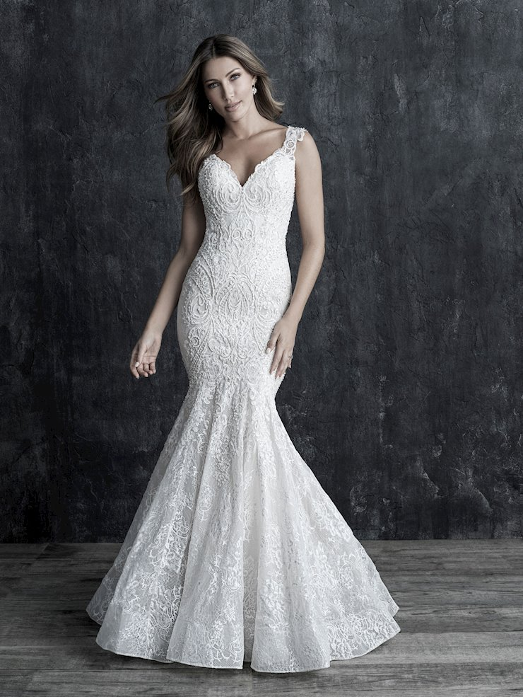 Allure Couture Style #C550 Crystal and Rhinestone V-neck Lace Fit and Flare Wedding Dress Image