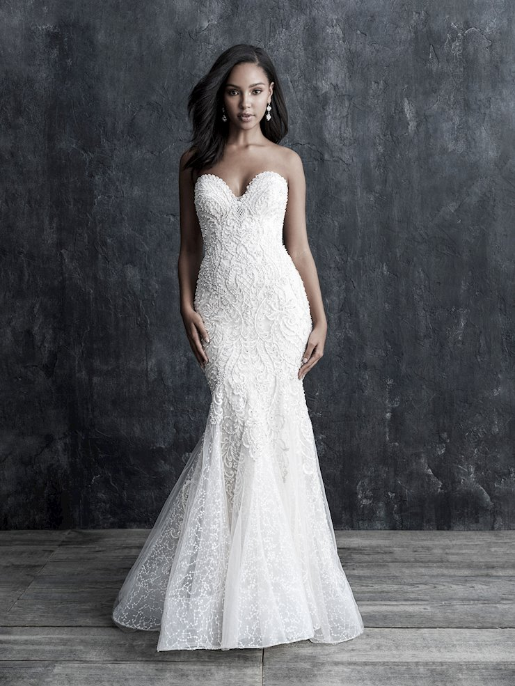 Allure Couture Style #C552 Strapless Beaded Sweetheart Sheath Wedding Dress Image