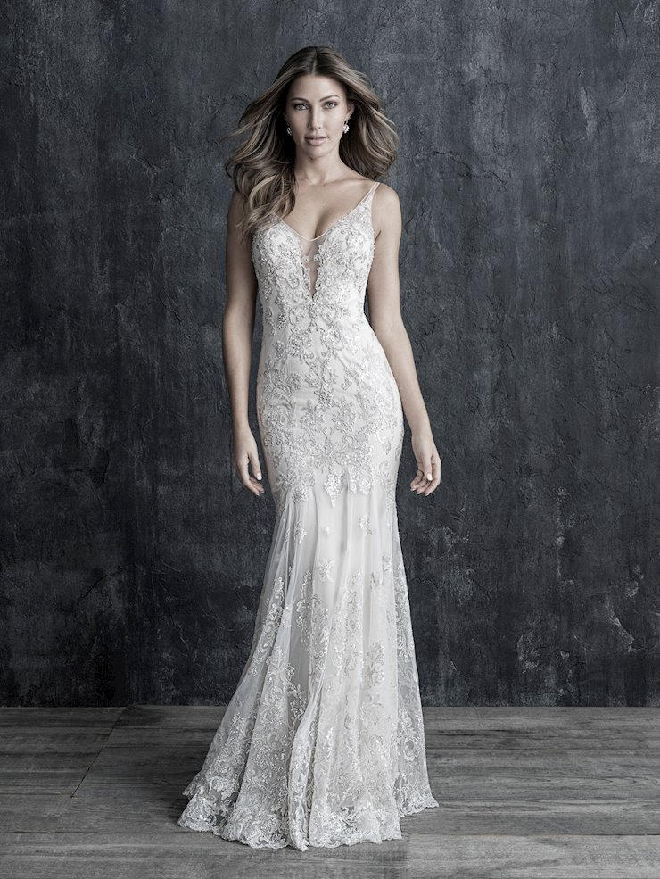 Allure Couture Style #C554 Delicate Beading and Embroidery Sheath Wedding Dress with Illusion Deep V-neck Image