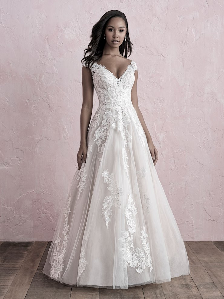 Allure Romance Style #3262 Cap Sleeve V-Neck A-line Wedding Dress with Floral Lace Appliques  Image