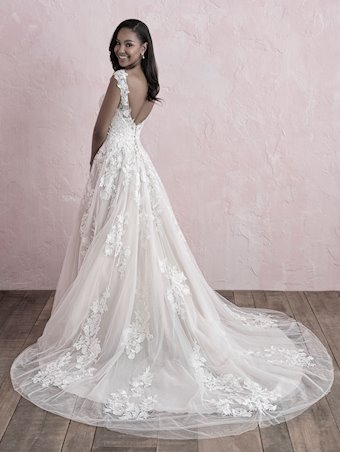 Allure Romance Style 3262 Cap Sleeve V-Neck A-line Wedding Dress with Floral Lace Appliques