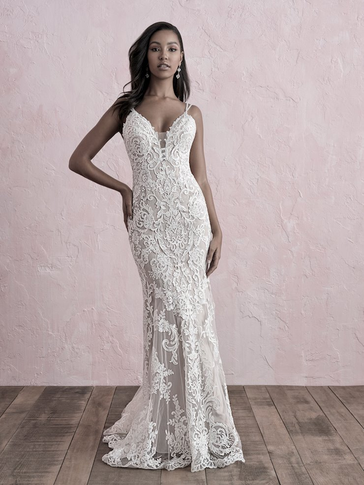 Allure Romance Style #3269 Double Spaghetti Straps Lace Sheath Wedding Dress Image