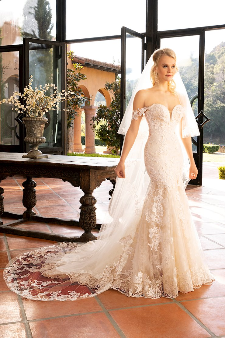 Casablanca Style #2376 Fit and Flare Lace Off the Shoulder Wedding Dress with Sweetheart Neckline  Image