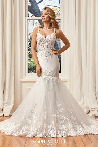 Sexy Fitted Wedding Dress with Sheer Bodice Nicola