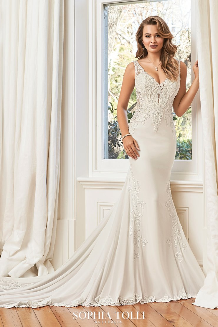 Effortless Chiffon Fit and Flare Wedding Gown Summer