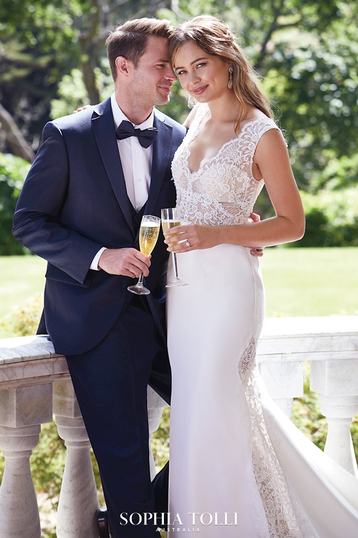 Sexy Crepe and Lace Gown with Sheer Detailing Onyx