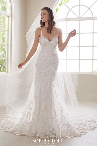 Sexy Lace Wedding Gown with Low Back Aquamarine