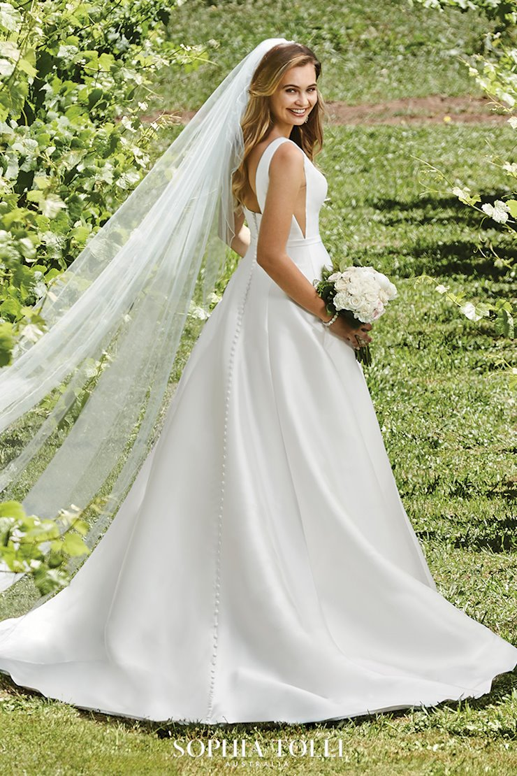 Modern Mikado Wedding Dress with Pockets Natalie Grace