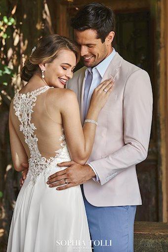 Chiffon Wedding Dress with Plunging Neckline Christabel