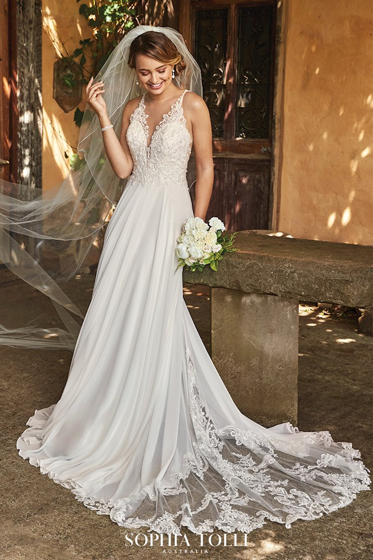 Chiffon Wedding Dress with Plunging Neckline Christabel