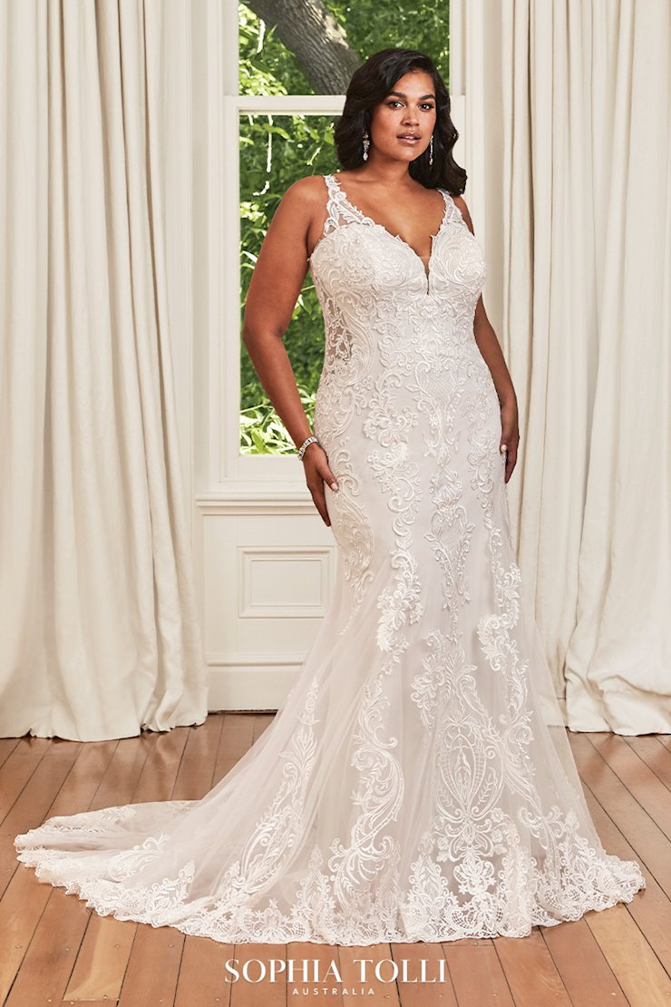 Elegant Fit and Flare Gown with Sheer Details Tara