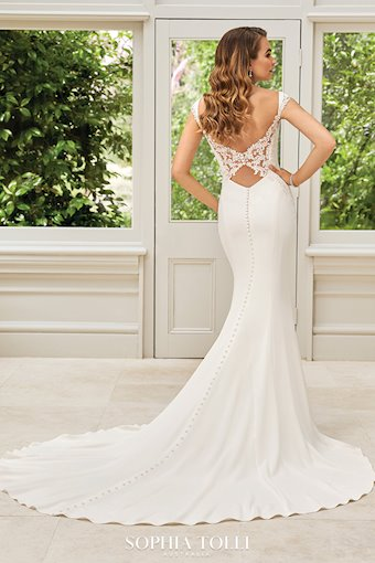 Simple Modern Wedding Dress with Lace Back Scarlett