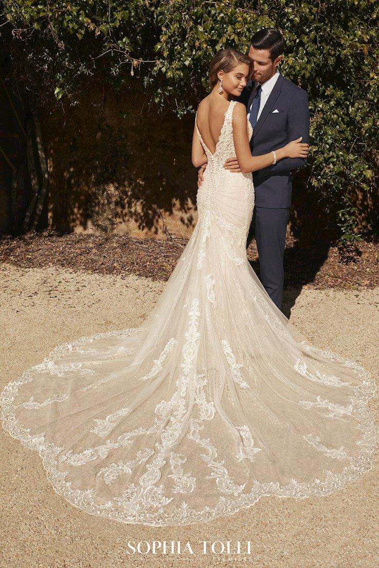 Layered Lace Wedding Dress with Shaped Train Juliette