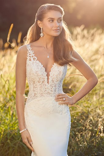 Modern Crepe Wedding Gown with Sheer Bodice Alea