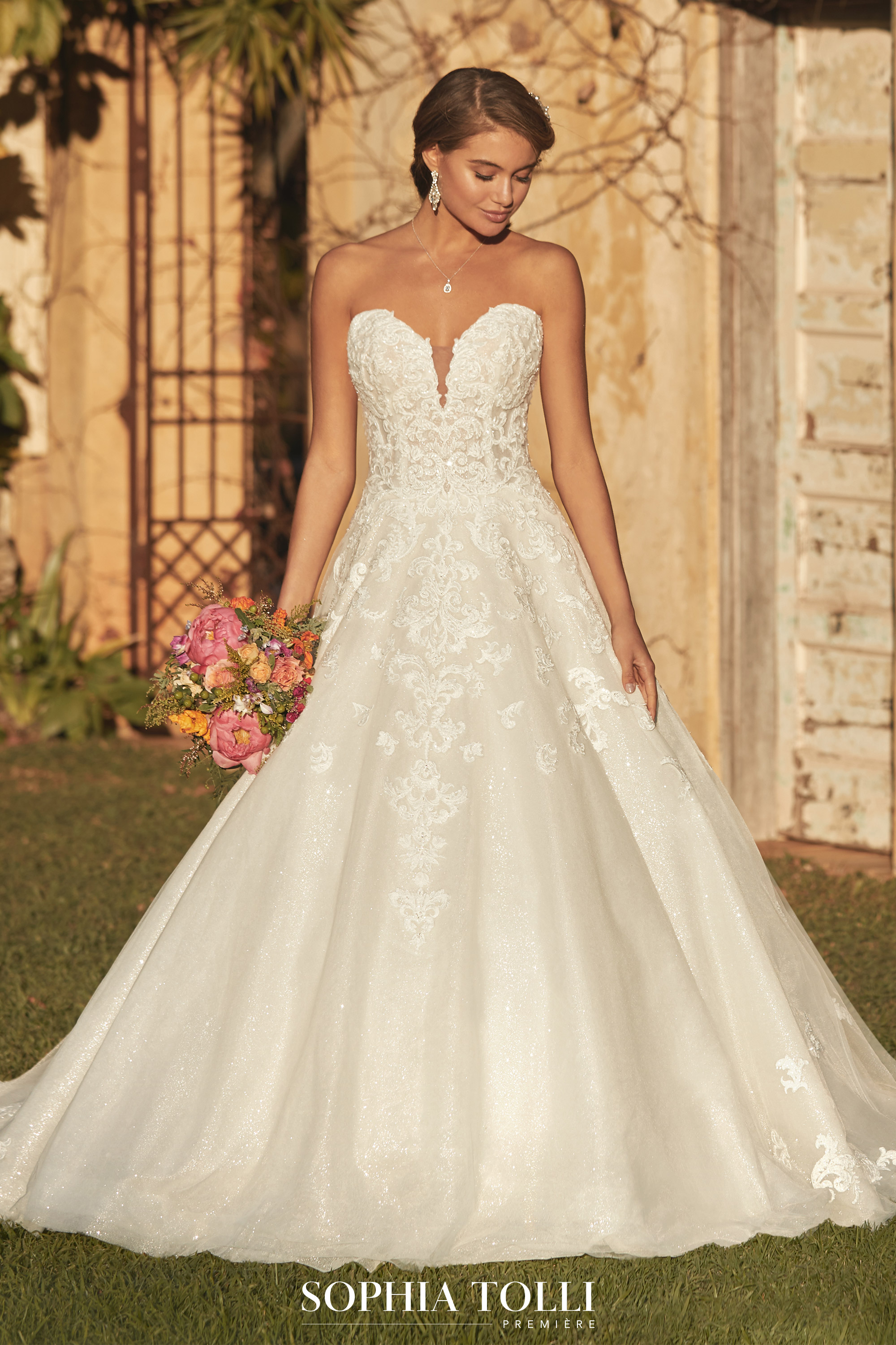 Sparkly Ballgown Wedding Dress With Whimsical Lace Sophia Tolli