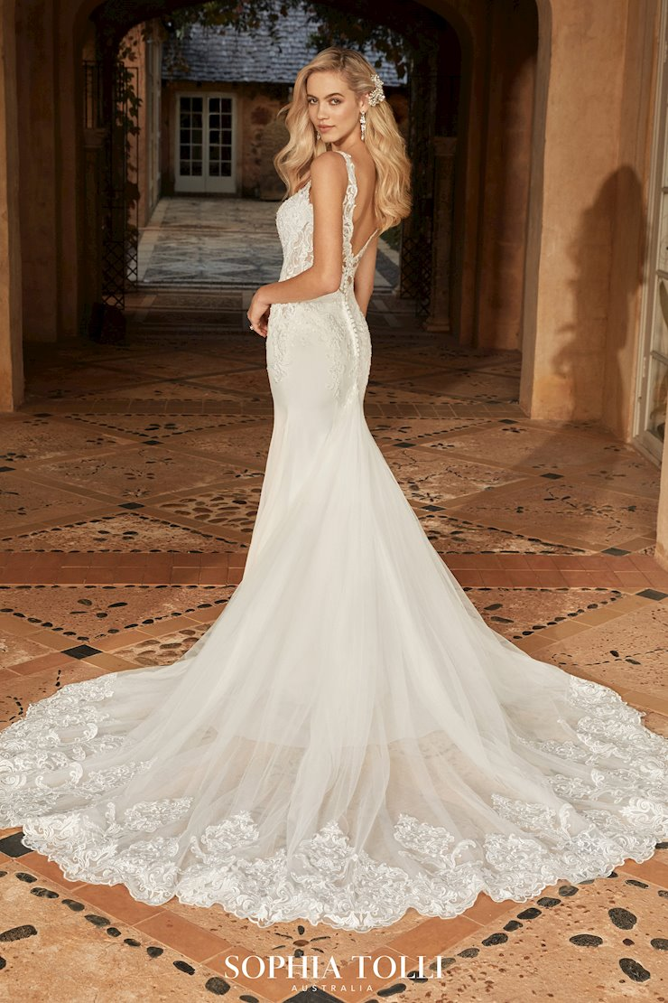 Sexy Crepe Wedding Dress with Sheer Back Sierra