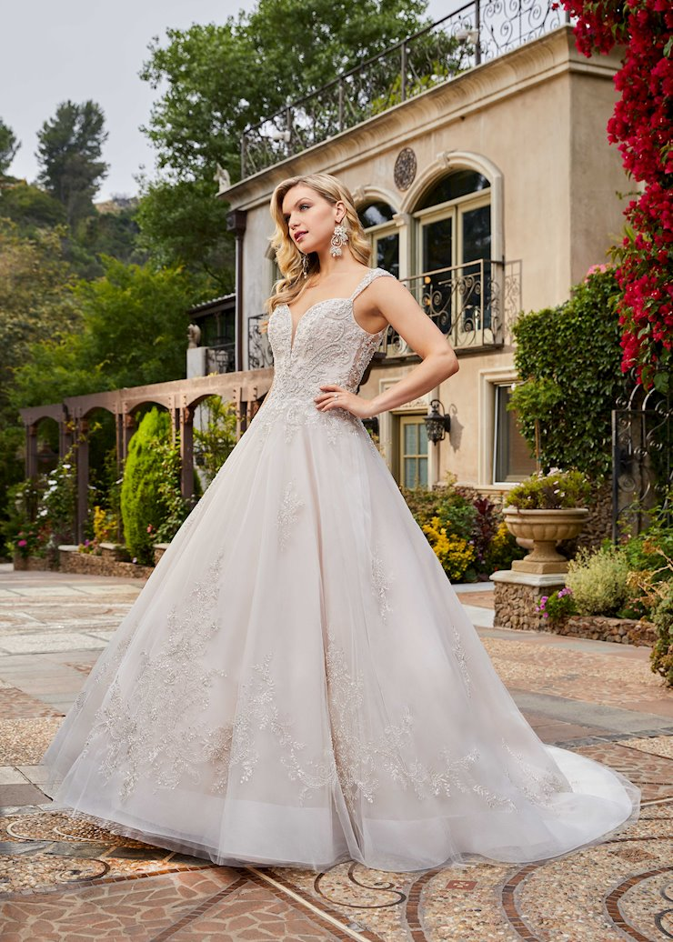 Casablanca Style #2398 Cap Sleeve Ballgown Wedding Dress with Tulle Skirt, Swirling Beading and Embroidery Image