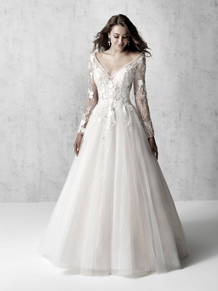 Madison James Style #MJ617 Long Sleeve V-Neck A-line Lace Wedding Dress with Tulle Skirt Image