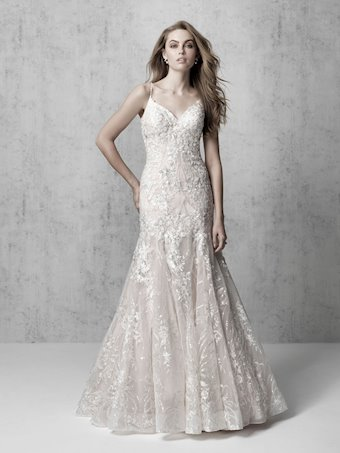 Madison James Style #MJ620 Thin Strap V-Neck Textured Lace Fit and Flare Wedding Dress