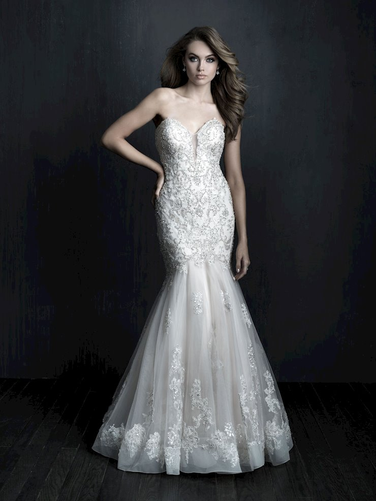 Allure Couture Style #C560 Strapless Mermaid/Fit and Flare Wedding Dress with Crystal Beadwork and Delicate Appliques  Image