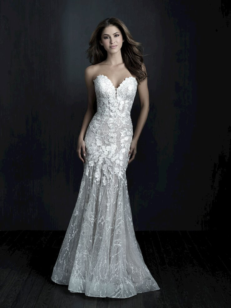 Allure Couture Style #C563 Strapless Sheath Wedding Dress with Beading Appliques and Sequins  Image