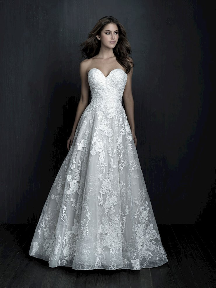 Allure Couture Style #C567 Strapless Lace Organza Wedding Gown with Lace Appliques and Beading  Image
