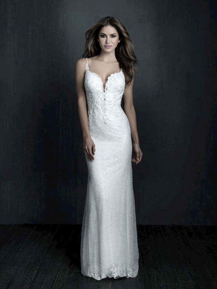 Allure Couture Style #C569 Delicate Beaded Thin Strap Sheath Wedding Dress featuring a Sheer Train  Image